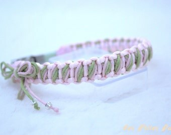 Small braided dog collar pink and green