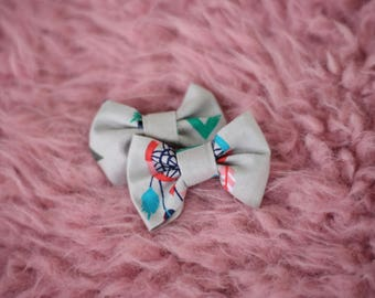 Gray Feather Pigtail Hair Bow Clips