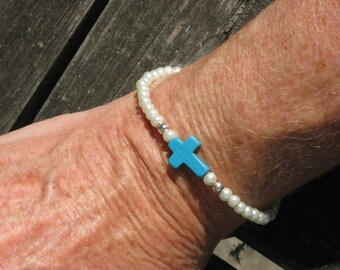 Wear your faith on your wrist blue turquoise cross and pearl bracelet