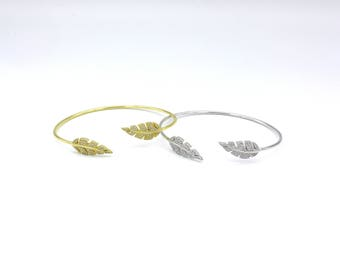 Silver/Gold plated Leaf Bracelet with cz