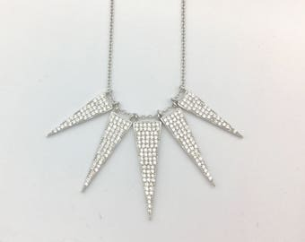 Cubic Zirconia & Sterling Silver Five Triangle Pendant Necklace