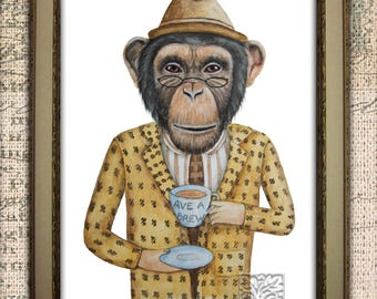 Chimp print. Chimpanzee Painting with cuppa Tea. Monkey print with clothes. Dictionary print. Unique Gifts 8 x 10 and 12 x 16 inch