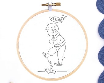 Hand Embroidery Pattern Nursery Rhyme Embroidery PDF Jack Be Nimble Hand Embroidery Design Vintage Reproduction Transfer Embroidery Design