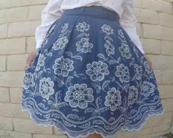 Vintage Blue skirt with white embroided flowers