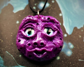 SALE Purple Full Moon Face Necklace, Hand- Sculpted Polymer Clay Pendant, Moon Necklace, Mystical, Magical,OOAK