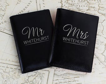 Personalised Mr and Mrs Leather Passport Cover set, Passport Holder, Wedding gift, Honeymoon gifts, Gift for couple, Free UK Delivery