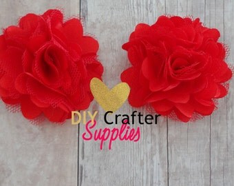 "1.5"" Red Inch Satin Mesh Flower, 1.5"" DIY Flower for Baby Headbands, Hairbows, Maternity Sashes"