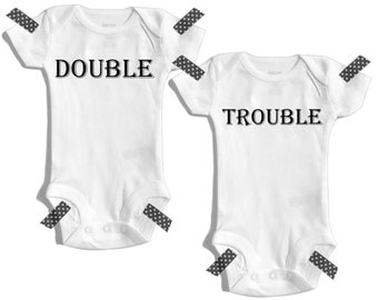 Baby twins - Double trouble - Twin outfits - Baby shower twins - Newborn twin outfits - Gifts for twins - Twinning - Matching twin outfits