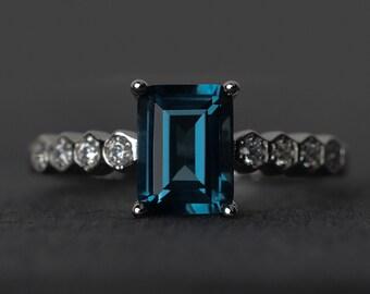 London blue topaz ring engagement ring blue gemstone ring emerald cut silver November birthstone ring