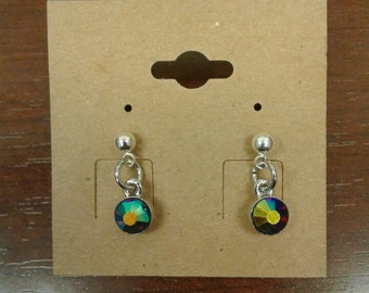 Multi Color Crystal Small Dangle Earrings
