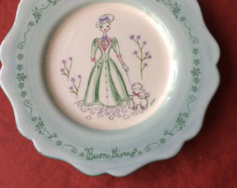 Beautiful Hanging Plate with Women walking her Poodle