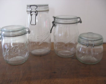 Le Parfait Glass Storage  /Preserving /Canning Jars 4 Sizes - 500ml/ 750ml /1 l/1.5 l Iconic  French Vintage Kitchenalia French Mason Jars