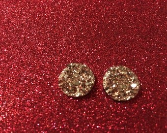 14mm-rose gold druzy studs