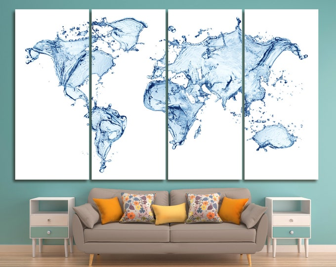 Abstract water world map print, large abstract water world map on canvas, world map watercolor art abstract print decor, Canvas World Map