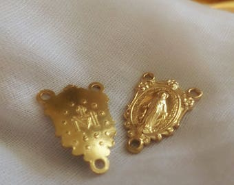 """2 Raw Brass Rosary Centers; Brass Rosary Parts; Brass Rosary Centers; Brass Rosary Supplies; Rosary Parts; """"Miraculous Medal Floral"""""""