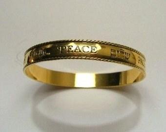 1992 Vintage Avon Peace Bangle, Gold Tone
