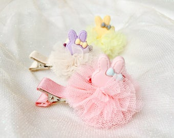 Sale Baby girls hair clip Easter bunny hair clip Easter  hair accessories for baby girls baby Easter barrettes chiffon tulle flower
