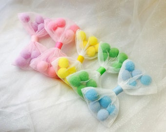 Baby hair clips baby headbands pompom bows  baby bows girls bows infant headbands baby Barrettes girls Barrettes