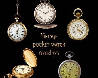 Pocket Watch Overlay Set, Separate PNG Files, High Resolution, Instant Download.