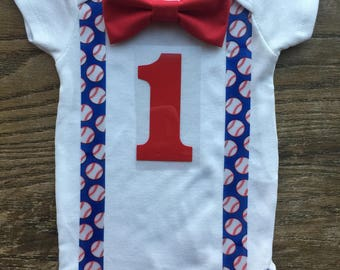 Baseball First or 1/2 birthday onesie with suspenders and a bow tie