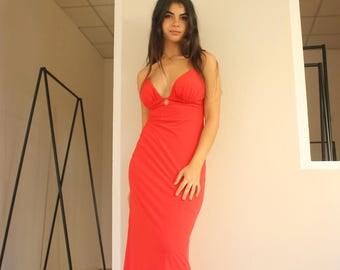 Red Woman Dress, Midi Dress, Knee Length Dress, Party Dress, Prom Dress, Backless Dress, Evening Dress, Gown, Bridesmaid Dress, Custom Made