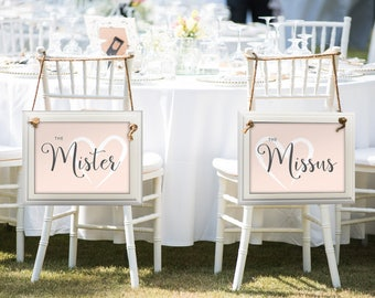 Wedding Chair Signs, Mister and Missus, Instant Download, Wedding Decor, DIY Wedding Sign, Bride and Groom