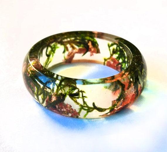 Resin Ring terrarium Natural Green moss copper flakes Evergreen gift women men friend romantic gift natural ring green ring natural style