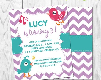 Little birds Birthday party Invitation - Colorful birds - Instant Download