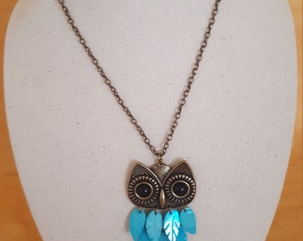 ON SALE, Owl Necklace, Brass Owl Necklace, Aqua Owl Jewelry, Owl Jewelry, Brass Jewelry, Long Necklace, Chain and Pendant, Big Owl, Cool Owl