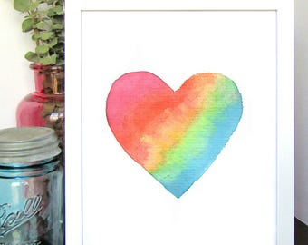 Rainbow Heart Watercolor Print - Kids Room Decor - Baby Nursery Decor - Baby Shower Gift - Gifts for Her