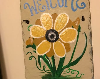 Yellow flower welcome slate painting