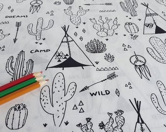 Fabric coloring Oeko Tex - CACTUS/TEEPEE