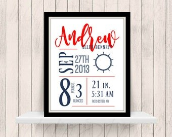 Birth Details Printable Nursery Decor Nautical Theme
