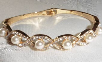Faux Pearl And Rhinestone Bangle Bracelet