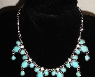 Turquoise and Rhinestone Silver Plated Dress Necklace
