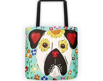 Pug Tote Bag, Dog Tote Bag, Tote