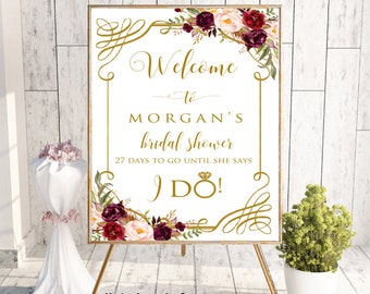 Welcome Sign, Welcome Bridal Shower Sign,Bridal Shower Decor,Bridal Shower Welcome Sign, Bridal Shower Sign,Printable Bridal Shower Sign,#LC