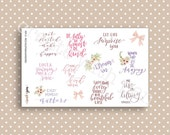 QUOTES planner stickers - Hand lettered - Quotes Collection - Kikki K Filofax Erin Condren Q1604