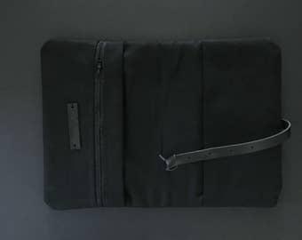 All black - Black canvas diaper bag, diaper bag, diaper / nappy wallet, diaper clutch
