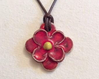 Red flower ceramic necklace