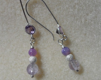 Amethyst, Opal and Silver Earrings