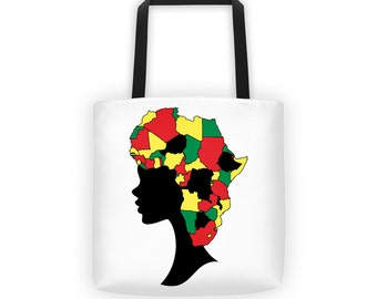 Woman Africa Tote bag, Woman Silhouette Tote Bag