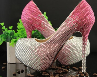 Sparkly Crystal Rhinestone Beads Decorate Wedding Heels Woman Bling Party Prom Shoes Luxury Platform Shoes Custom Princess Shoes