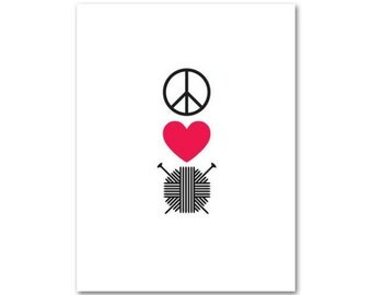 Knitterella Peace Love Knit, Note Cards, Blank Cards, Envelopes