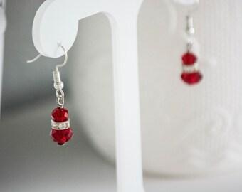 PefRed Earrings, Red Glass Earrings Dangle Earrings, Statement, Bold Earrings