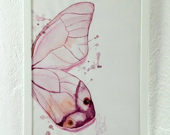 Original watercolor, painting, butterfly, wings