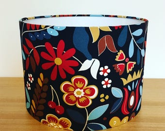 Handmade Fabric Lampshade. Scandi flowers. Ikea TIGERÖGA fabric