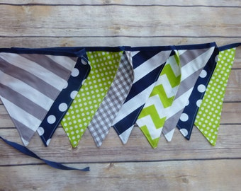 Lime Green, Grey, and Navy Blue Banner, Birthday Party Decoration, Bunting, Fabric Banner, Flags, Photography Prop, Garland , Chevron, Dots