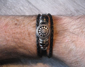 "Mens Tribal Black Leather Wrap Bracelet WRIST SIZE: 6.75-7.25"" Tribal Rock Punk Surfer Zen Boho Cuff Bracelet Jewelry Jewellery Gift for Him"