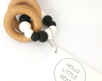 CHUNKY Teether Monochrome - Black and White Baby Teething Toy - Mono Wooden Rattle - Silicone and Beech Teething Toy - Modern Baby Rattle